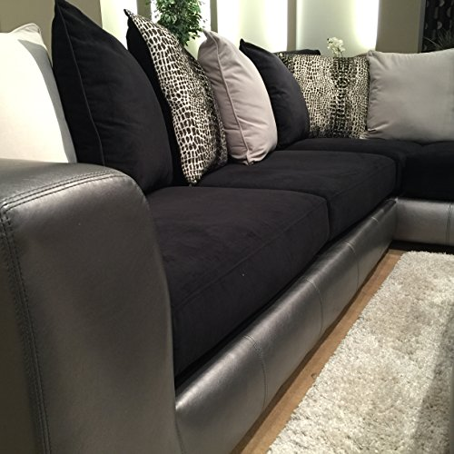 Amazon.com: Roundhill Furniture Shimmer Pewter Microfiber Sectional Sofa  and Ottoman, Black: Kitchen & Dining - Amazon.com: Roundhill Furniture Shimmer Pewter Microfiber