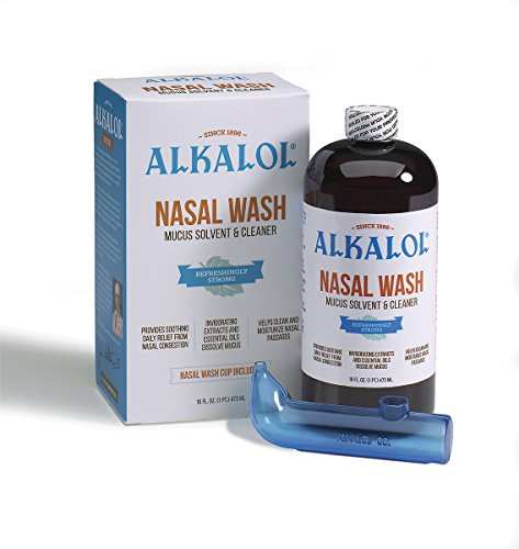 Alkalol - A Natural Soothing Nasal Wash, Mucus Solvent and Cleaner Kit -  with Cup, 16-oz. (Nasal Rinse Cup)