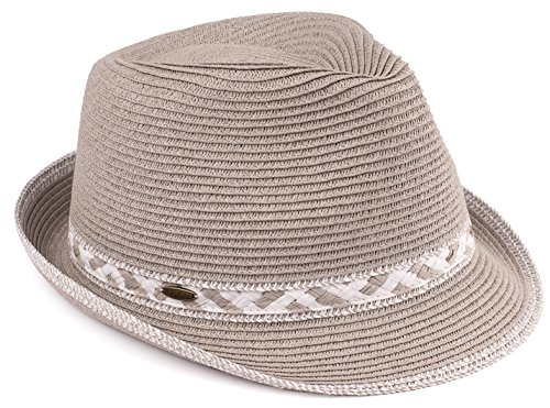 H-6108-32321 Multicolor Woven Fedora Sun Hat - Grey