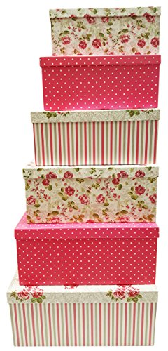 Alef Elegant Decorative Themed Extra Large Nesting Gift Boxes -6 Boxes- Nesting Boxes Beautifully Themed and Decorated - Perfect for Gifts or Simple Decoration Around the House! (Flower)