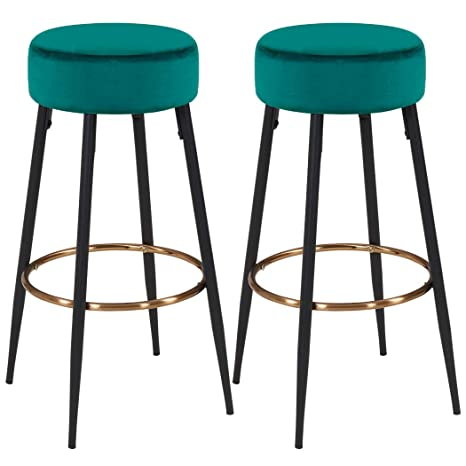 Awe Inspiring Duhome Bar Stools Set Of 2 Velvet Round Kitchen Counter Stools Industrial Modern Barstool Bar Chairs For Counter Pub Height Green Bralicious Painted Fabric Chair Ideas Braliciousco