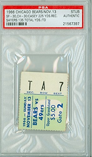 1966 Chicago Bears Ticket Stub vs San Francisco 49ers Gale Sayers 135 Total Yds, TD Bernie Casey 225 Yds Rec - 49ers 30 - Bears 30 (TIE) November 13, 1966 PSA/DNA Authentic Nov 13 1966 [Grades F-G, creases]