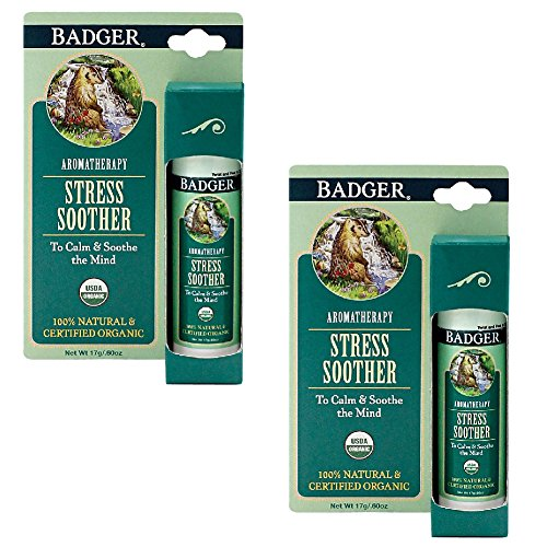 (Set of 2) Badger Stress Soother - Natural Organic Aromatherapy Calm & Soothe (Badger Massage Oil)