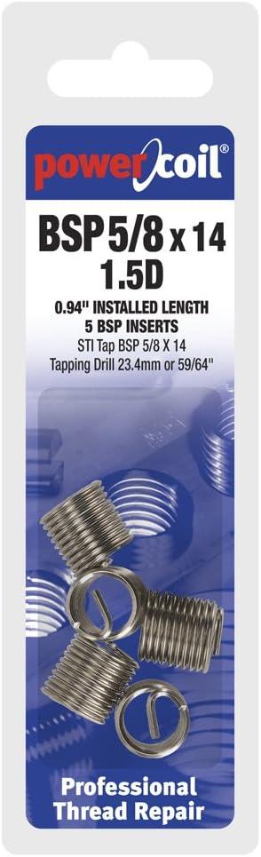 PowerCoil 3546-5//8X1.5DP BSP 5//8 x 14 x 1.5D Wire Thread Inserts 5 Pack