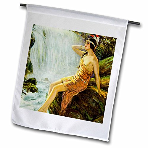 Moonlit Waters (3dRose Scenes from the Past Ephemera - Vintage Native American Princess Pin Up Poster Moonlit Waterfall - 18 x 27 inch Garden Flag (fl_269812_2))
