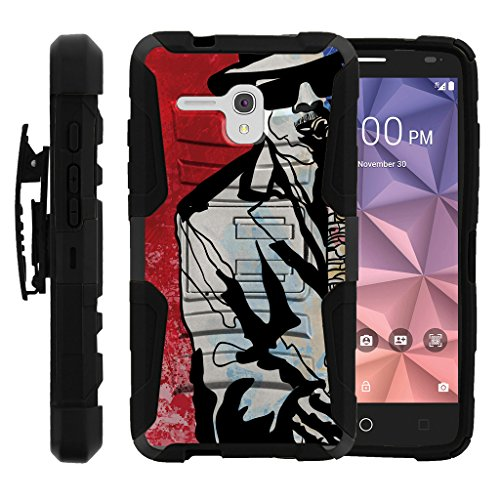 l One Touch Fierce XL Case | Alcatel Flint Case [Hyper Shock] Heavy Impact Proof Absorber Silicone Case Kickstand Holster Belt Clip Music Design - Jazz Musician ()