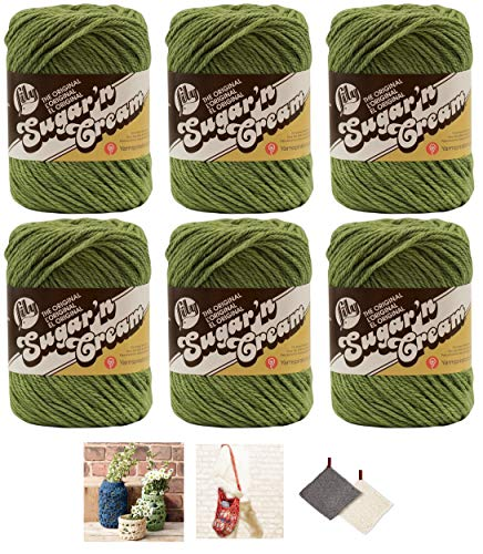 Bulk Buy: Lily Sugar'n Cream Yarn 100% Cotton Solids and Ombres (6-Pack) Medium #4 Worsted Plus 3 Lily Patterns (Sage Green 00084)