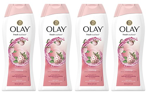 Body Wash for Women by Olay, Fresh Outlast Cooling White Strawberry & Mint Body Wash, 22 oz, (4 Count) ()