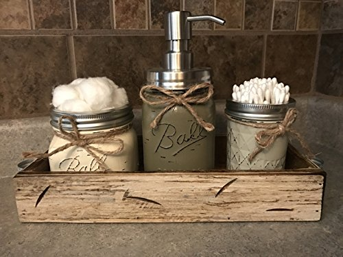 Ball Mason Jar BATHROOM SET in Antique WHITE Tray ~Cotton Ball Soap Dispenser Q-Tip Holder ~Canning JARS PAINTED Distressed Pint ~Stainless Steel Silver ~Accessories ~Gray Blue Pewter Green Cream Tan (Soap Dispenser Pewter Bathroom)