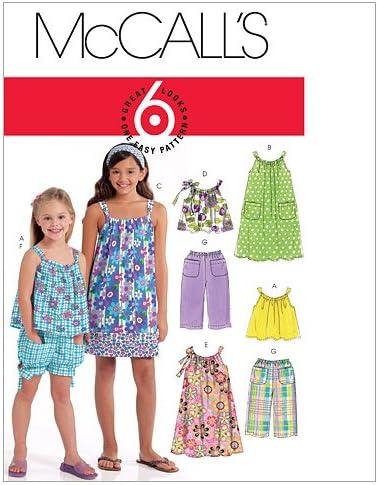 Shorts et Pantalons pour Enfant//Fille Robes Blanc 4-5 6/Hauts McCalls Patterns M5797/Taille CCE 3 Lot de 1