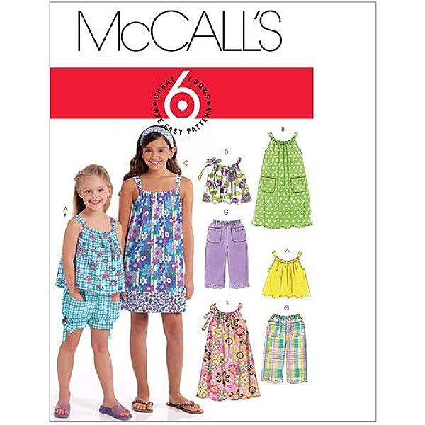 7-8-10-12-14 White Butterick Patterns B6550CHJ Sleeveless Girls Dress Sewing Patterns