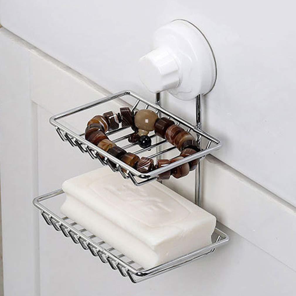 Amazon.com: wrmr doble capa jabonera soporte para ducha o en ...