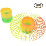 JETTINGBUY 3 Pcs Assorted Mini Rainbow Spring Slinky Toy, Plastic Magic Spring for Birthday Party Favors, 1.8 x 1.8 x 2.4 Inch