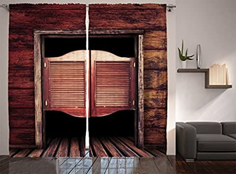 Ambesonne Western Decor Collection, Old Vintage Rustic Wooden Wild West Swinging Cowboy Bar Saloon Door Picture, Window Treatments, Living Room Curtain 2 Panels Set, 108 X 84 Inches, Maroon Brown