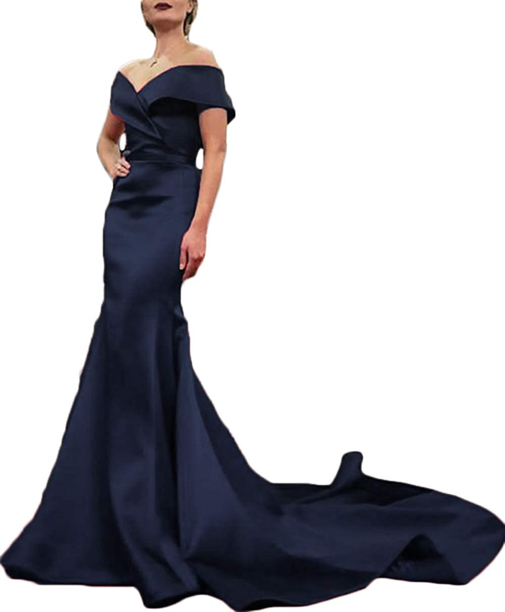 Navy bluee Rmaytiked Womens Off The Shoulder Mermaid Prom Dresses Long 2019 Elegant Satin Formal Evening Ball Gowns