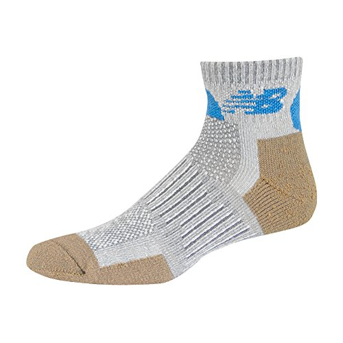 New Balance Quarter with Technical Elite NBX Trail 2 Pack Socks,Silver/Blue,Medium ()