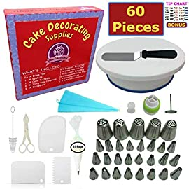 Cake Decorating Supplies - (SPECIAL CAKE DECORATING KIT WITH ICING CHART) and LARGE Numbered Tips, Cake Rotating Turntable, 24 icing tips and more! Create BEAUTIFUL Cakes With This Complete Cake Set! 19 ✅ THE EXCELLENT STARTER KIT: A cake kit for yourself, a friend or for a loved one, you'll all fall in love with this 60-Piece Decorating Set! Have a blast with crazy cool designs with a professional, yet affordable Cake Decorating Kit For Beginners and Experts! ✅ WHAT'S INCLUDED: Those familiar to the world of Cake and Confectionary Art are also a fan of this set. It contains: Turntable, 24 Tips, 10 Large Tips, Reusable Piping Bags, Tip Coupler, Flower Lifter, Flower Nail, Spatula, 3x Cake Scrapers, 20x Pastry Bags and Cake Server. It's like opening a box of gems! ✅UPGRADED SET: We just made 3 upgrades to our set. We added silicone to the bottom of the turntable for sturdy positioning on the table + a tri-color tip for fancy multicolored designs! Lastly, we aded 5 small and large icing tips and they are all NUMBERED!