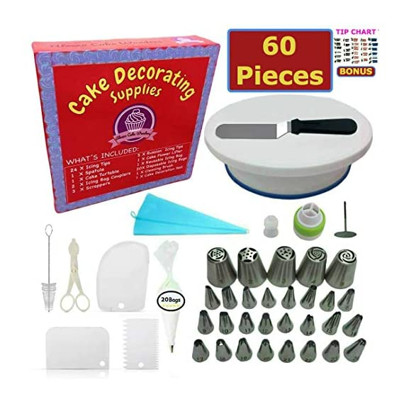 Cake Decorating Supplies - (SPECIAL CAKE DECORATING KIT WITH ICING CHART) and LARGE Numbered Tips, Cake Rotating Turntable, 24 icing tips and more! Create BEAUTIFUL Cakes With This Complete Cake Set! 1 ✅ THE EXCELLENT STARTER KIT: A cake kit for yourself, a friend or for a loved one, you'll all fall in love with this 60-Piece Decorating Set! Have a blast with crazy cool designs with a professional, yet affordable Cake Decorating Kit For Beginners and Experts! ✅ WHAT'S INCLUDED: Those familiar to the world of Cake and Confectionary Art are also a fan of this set. It contains: Turntable, 24 Tips, 10 Large Tips, Reusable Piping Bags, Tip Coupler, Flower Lifter, Flower Nail, Spatula, 3x Cake Scrapers, 20x Pastry Bags and Cake Server. It's like opening a box of gems! ✅UPGRADED SET: We just made 3 upgrades to our set. We added silicone to the bottom of the turntable for sturdy positioning on the table + a tri-color tip for fancy multicolored designs! Lastly, we aded 5 small and large icing tips and they are all NUMBERED!