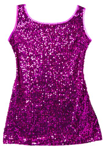 [Mini Sequin Dance Tank Dress in Shimmery Fuchsia Small Child] (Dance Costumes Kids Jazz)