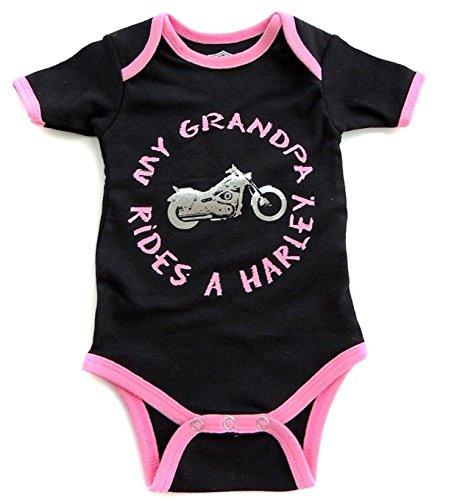 Harley Davidson Baby Girls My Grandpa Rides Black/Pink Romper (18 Months) (Boys Harley Davidson Motorcycles)