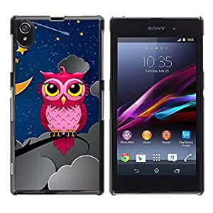LECELL -- Funda protectora / Cubierta / Piel For Sony Xperia Z1 L39 C6902 C6903 C6906 C6916 C6943 -- Pink Owl In Night --