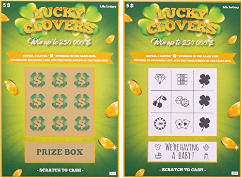 5 Pregnancy Announcement Scratch Off Cards | Baby Announcement Fake Lottery Scratchers Replicas | Surprise your Family & Friends and Reveal this Fabulous Baby News in the Most Memorable Way -