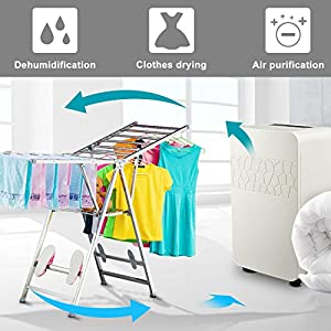 CO-Z Portable 70 Pint Dehumidifier Air Purifier Clothes Dryer with Vehicle Mountable, Ultra-Quiet Motor, Mold Prevention, for Basements with Drain Hose, Bathroom, Closet, RV, Vehicles
