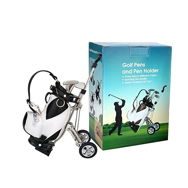 Golf Gifts Pen Holder With 3 Pens Bag Decorations Office