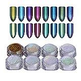 Born Pretty 8 Box Shinning Mirror Nail Glitter Powder Gorgeous Nail Art Chrome Pigment Glitters 8 Colors