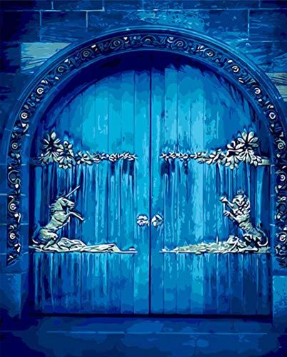 Pintura De Bricolaje Por Numeros,Puerta Antigua AzulPinturas Al Oleo Con Numeros,Pintado A Mano Sobre Lienzo Decoracion Del Hogar Cuadro Regalo (40X50Cm)