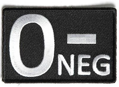 O NEGATIVE Blood ID Safety Motorcycle Embroidered MC Biker Vest Patch PAT-3504