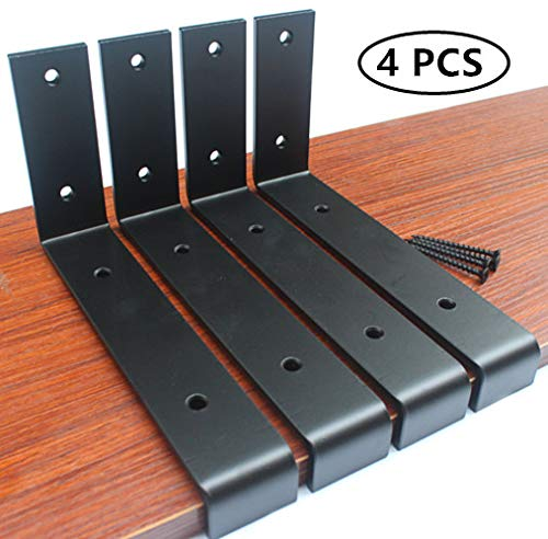 4 Pack - 7.25''L x 4''H x 1.5''W 5mm Thick Black Lip Shelf Bracket Heavy Duty Rustic Industrial Farmhouse Iron Metal Wall Floating Shelf Bracket Industrial Shelf Bracket, Shelf Supports with Screws by MHMYDZ
