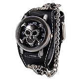 Punk Style Skull Clamshell Rivet Wide Watch Cuff Watch Arabic Numerals Men Women Wrist Watch, Black