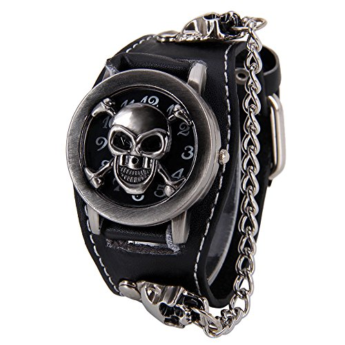 Punk Style Skull Watches for Men - Clamshell Watch Wide Cuff Watches Black Wrist Watches for ()