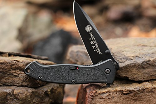 Smith & Wesson SWATMB 7.5in High Carbon S.S. Assisted Opening Knife with 3.2in Drop Point Blade and Aluminum Handle for Outdoor, Tactical, Survival and EDC