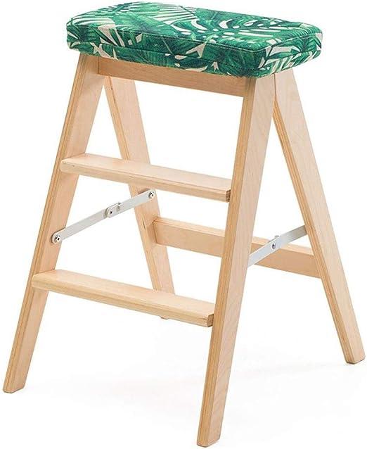 SCBED Taburete de Madera Maciza con Escalera de Tres peldaños, Plegable para Cocina, Multifuncional (Color : H): Amazon.es: Hogar