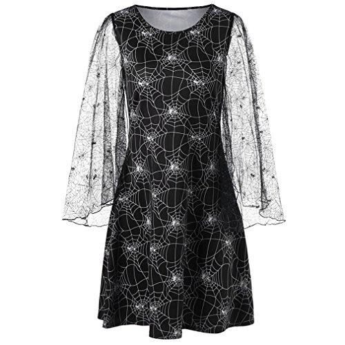 ISIKURA Plus Size Halloween Spider Web Print Sheer Dress Women Flare Sleeve Lace Loose Gothic Mesh Dress Big Size Black XXL Spider Web Lace Long Sleeve