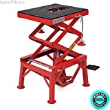 SKEMIDEX---300lb Motorcycle Lift 1100 LB Auto ATV Touring Dirt Bike Scooter Mini Scissor Center Hoist Floor Repair Stand Jack with Two Screw Adapters Removable Crank Handle