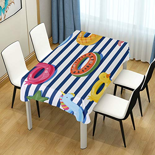 MIGAGA Decor Tablecloth Vector Seamless Swimming Pool Float Rings Multicolor Rectangular Table Cover for Dining Room Kitchen Outdoor Picnic