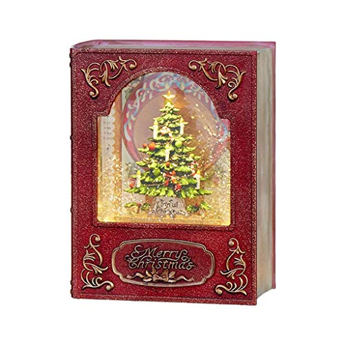 "RAZ Imports 8.5"" Christmas Tree Lighted Water Book (Water Lantern) Lighted Christmas Snow Globe with Swirling Glitter"