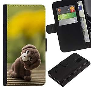 Planetar® Modelo colorido cuero carpeta tirón caso cubierta piel Holster Funda protección Para Samsung Galaxy S5 Mini (Not S5) (Not S5), SM-G800 ( Arte relleno del perro de animal del oso de peluche de juguete )