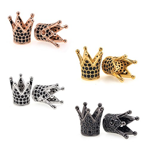 King Crown Bead Pave Black CZ for Mens Bracelet Charms Spacer Beads Jewelry Making Findings 12x13mm 10Pcs