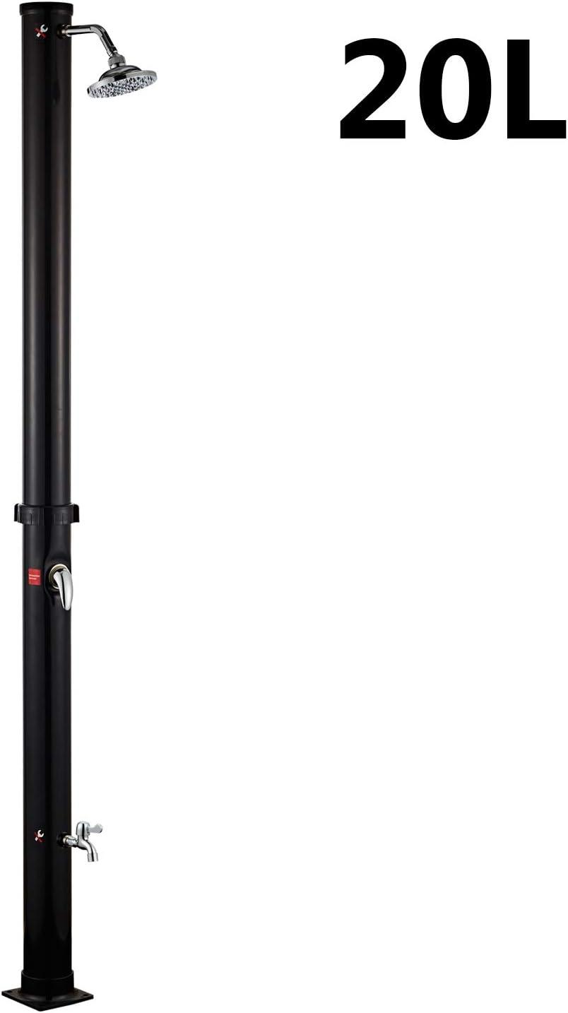 Hengda Ducha Solar 20 litros, PVC Ducha de Jardín con Lavapiés y Cabezal de Ducha Regulable, para Exterior Jardín Piscina, 220cm