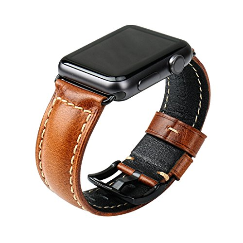 MAIKES Leather Strap For Apple Watch band 42mm 38mm Series 3/2/1 iWatch Watchband (For Apple Watch 42mm, Light Brown B) ()