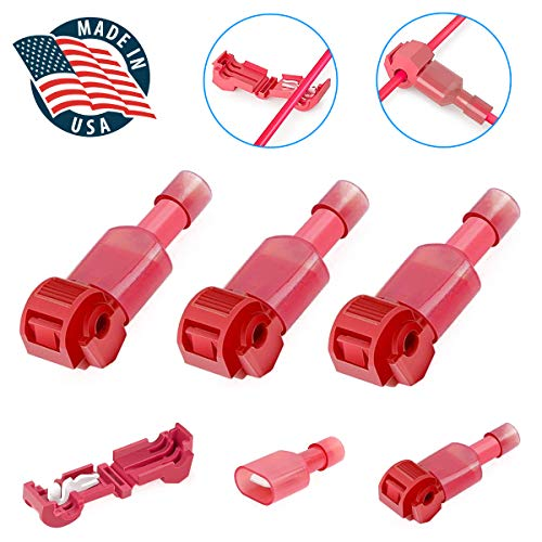 (GBAuto T-tap Wire Connectors,T-tap Electrical Connectors with Case Insulated Male Spade+ Nylon Quick Splice - Red 22-18 (100PCS)