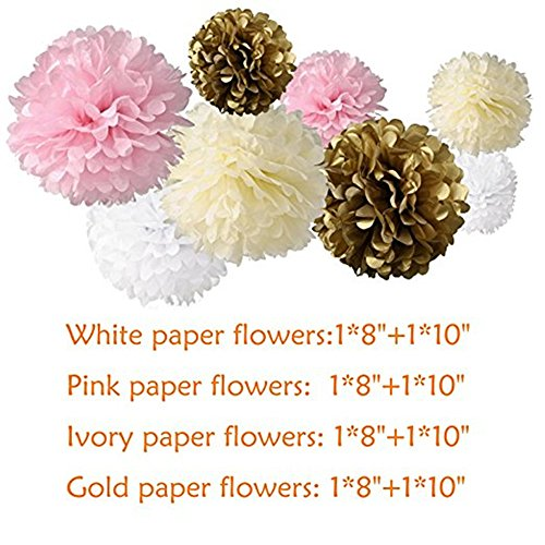 Lansian 30PCS Tissue Paper Pom Pom Flowers Pink White Gold Tassel Garland Banner for Wedding Bridal Birthday Graduation Baby Shower Decorations Party Supplies by Lansian (Image #1)