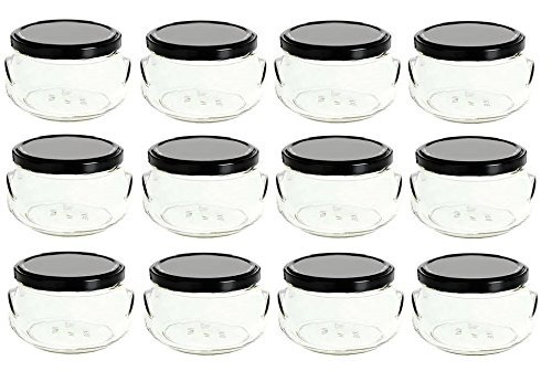Nakpunar 12 pcs 8 oz Glass Tureen Jars with Black Lids