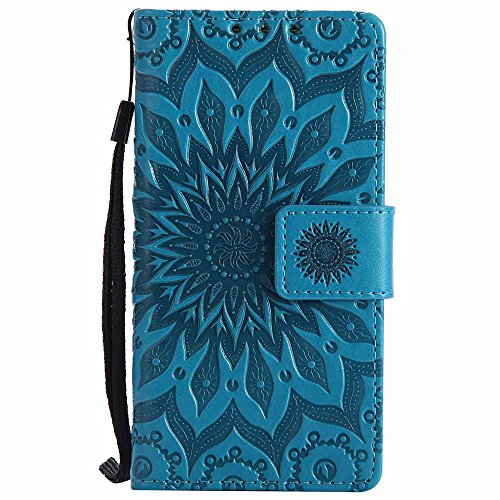 (Xperia Z5 Compact Case, Xperia Z5 Mini Case, Dfly-US Premium PU Leather Embossed Mandala Design with Stand Function Card Slots Flip Slim Fit Wallet Cover for Sony Z5 Compact / Z5 Mini, Blue)