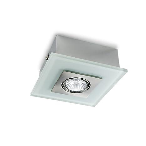Cristalrecord - Plafón superficie zeta blanco. Foco orientable 30º. Dimensiones 15x15cm