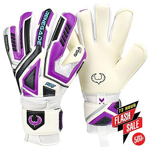 (Renegade GK Fury UV2 Roll-Neg. Hybrid Cut Level 4 Adult & Junior Goalkeeper Gloves Finger Protection - Junior Goalie Gloves Soccer - Goalie Gloves Size 11 Purple, White, Silver, Black)